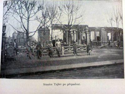 Тайшет, здание вокзала после боя 8 мая 1919 г.