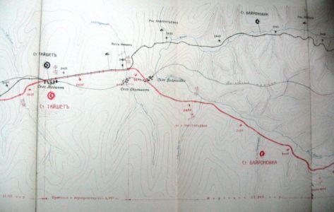Железнодорожные пути (старый и новый маршрут) и Московский тракт на тайшетском участке